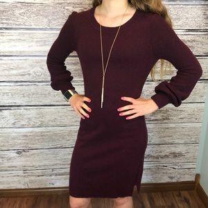 Loft burgundy sweater dress with fun sleeves S